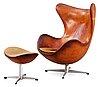 An arne jacobsen brown leather 'egg chair' with ottoman, by fritz hansen, denmark 1963.