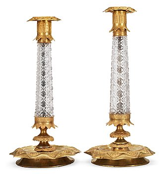 8. Two similar Russian 1830's gilt brass and glass candlesticks.