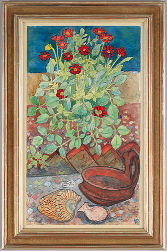 Hilding linnqvist, still life with flowers and seashells.