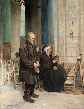 "59. CARL WILHELMSON, ""Under mässan. I St. Germain des Près"" (At mass. In St. Germain des Près)."