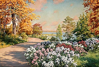 91. JOHAN KROUTHÉN, Garden with flowers.