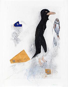 "312. PG Thelander, ""Fågel med fisk""."