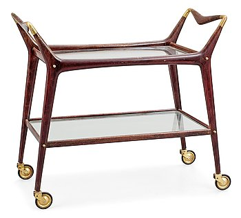 5. An Italian palisander and brass serving cart, 1950's.