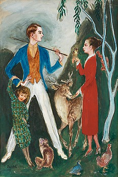 "NILS VON DARDEL, ""Ynglingen och flickan"" (Young man and girl). Signed Dardel. Executed in 1919. Watercolour 47 x 31 cm."