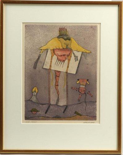 "Grafik, 4 etsningar ur mappen ""la mysticité charneille de rené crevel, 1976"", sign och numr xiv/xlv."