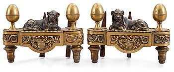 3. A pair of French late 18th century fire dogs.
