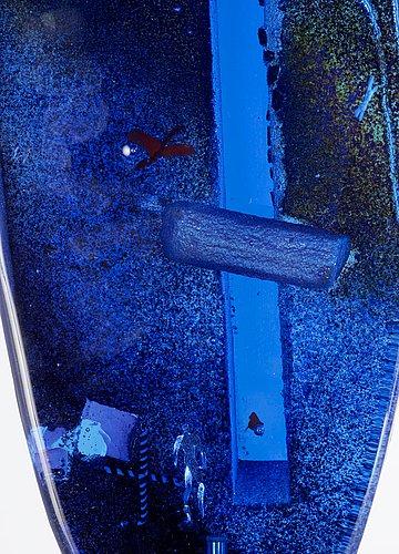 A bertil vallien sand-cast sculpture on a diabase base, kosta boda, sweden 1998.