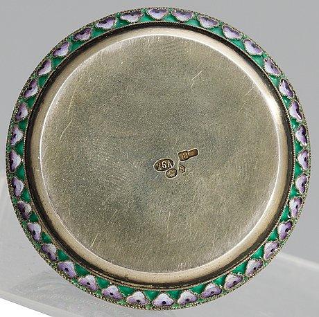 A russian 20th century silver and enamel salt-cellar, mark of 26th artel, moscow 1908-1917.