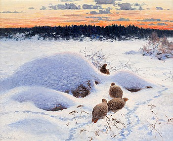22. THURE WALLNER, Winter landscape with partridges.