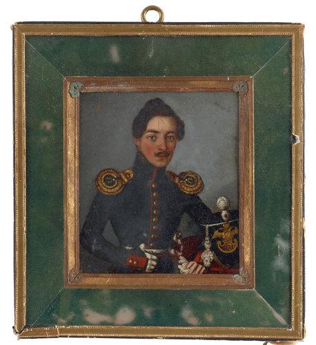 Russian artist 19th century. portrait of a russian officer.