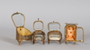 Klockfodral, 4 stycken, glas och metall 1800/1900-tal.