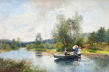 98. SEVERIN NILSON, Rowing in a summer landscape.
