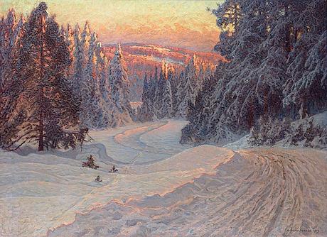 """Anshelm schultzberg, """"midvinterafton vid en skogsväg"""" (dalarne) (midwinter evening by a forest road, dalarne)."""