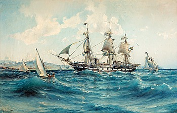 62. HERMAN AF SILLÉN, Possibly HMS Vanadis in the Mediterranean off North africa.