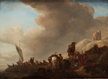 Philips wouwerman follower of, resting company by the coast.