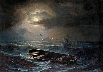 308. NILS JAKOB OLSSON BLOMMÉR, On a stormy sea.