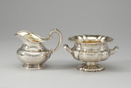 A russian mid 19th century sugarbowl and creamjug.
