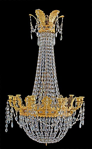 An empire-style 19th century ten-light chandelier.