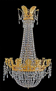 An Empire-style 19th century ten-light chandelier.