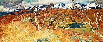 20. HELMER OSSLUND, Autumn landscape from Torne träsk with Lapporten.