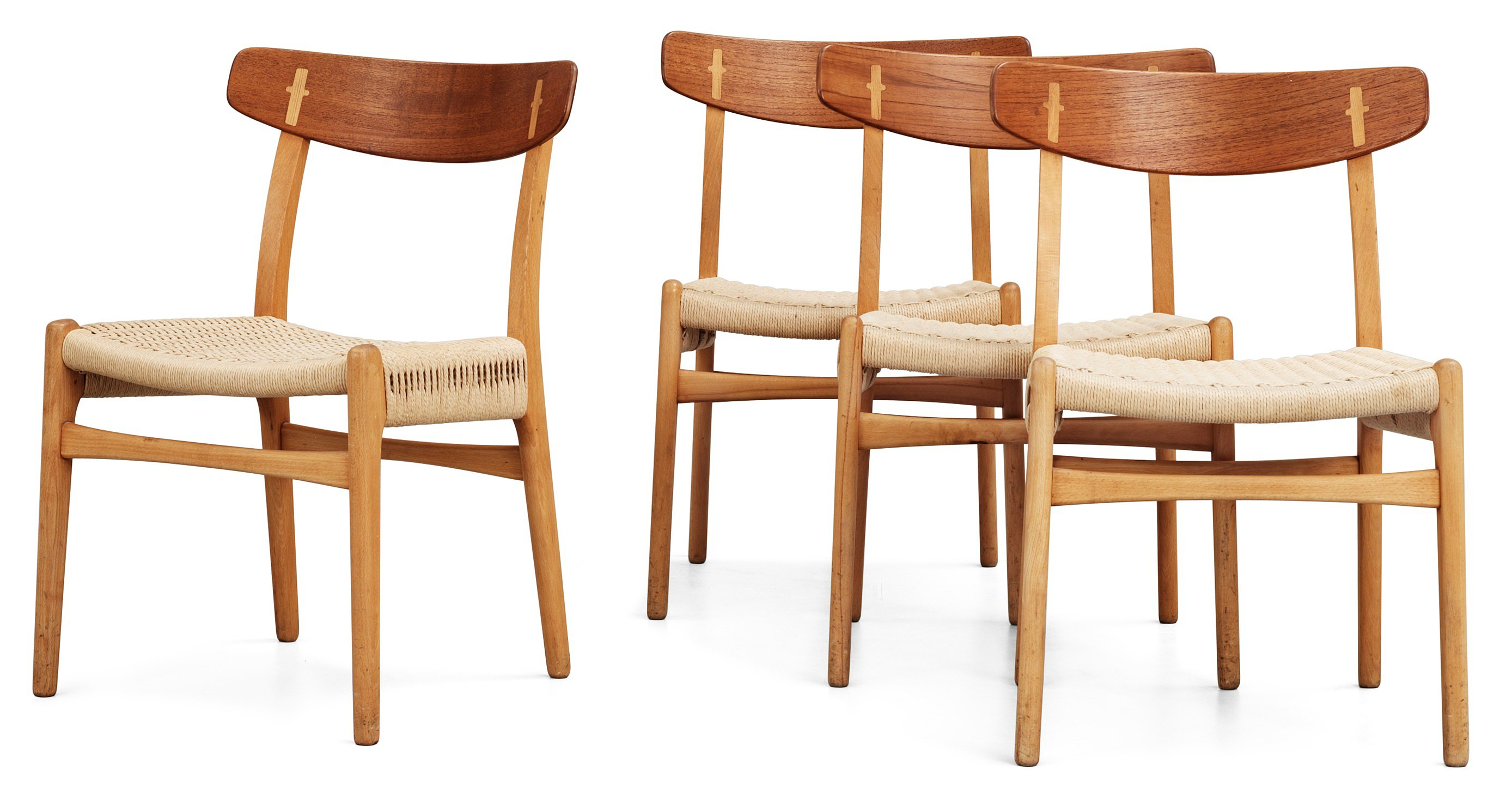 a set of four hans j wegner ch 23 oak chairs by carl. Black Bedroom Furniture Sets. Home Design Ideas