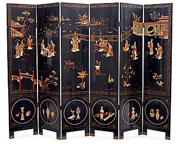 A chinese black lacquer six-panel screen, early 20th Century, with figures in gardens, inlays of carved mother of pearl, coloured bone, tree, and different stones. Back of panels with flowers painted in gold.