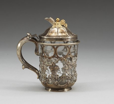 A russian silver teaglass stand, makers mark by sasikov, moscow 1879.