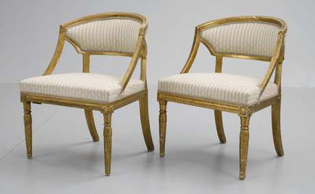 A pair of late gustavian armchairs.