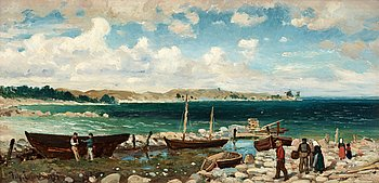 45. JOHAN ERICSON, Coastal landscape with harbour.
