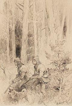 110. Bruno Liljefors, Forest landscape with hunters.