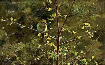 "23. THURE WALLNER, ""Lövsångare i vårsol"" (Willow warbler in spring sun)."