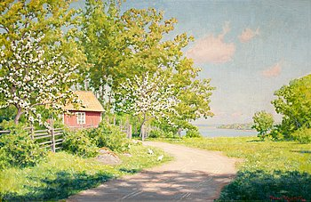 93. Johan Krouthén, Landscape with hens.