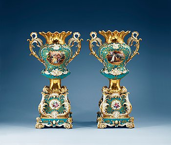 A pair of large french vases on stands, Jacob Petit, mid 19th Century. Height 54 cm.