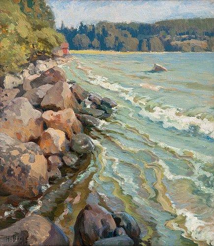 Helmi biese, rocks on the shore.