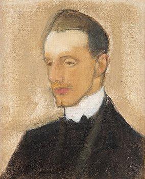 """237. HELENE SCHJERFBECK, """"Einar Reuter (studie i brunt)"""" (Einar Reuter (study in brown))."""