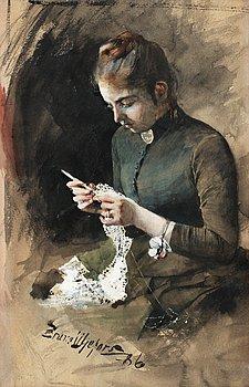 48. Bruno Liljefors, Anna Liljefors crocheting.