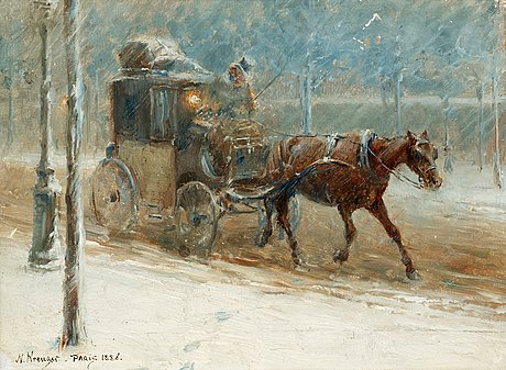 Nils kreuger, boulevard scene with horse and coach in winter.
