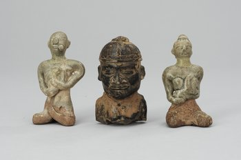 A set of three pottery figures, South America and Thailand.