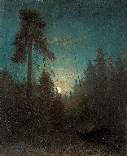 """Carl fredrik hill, """"månsken med uppskjutande tall""""."""