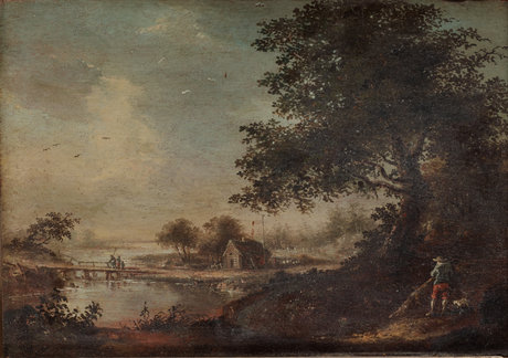 Johan philip korn, landscape with fisherman and a figure with a dog