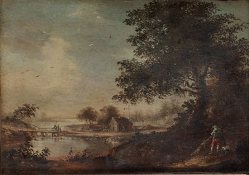 480. Johan Philip Korn, Landscape with fisherman and a figure with a dog.