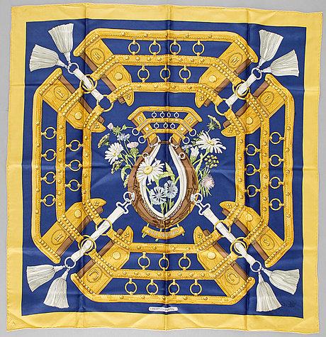 "A silk scarf ""aux champs"" by hermès."