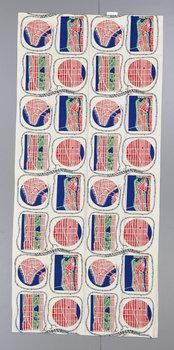 2. A pair of Josef Frank linnen curtains, 'Manhattan', Svenskt Tenn.
