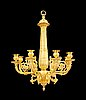 A french empire early 19th century gilt bronze eight-light hanging lamp.