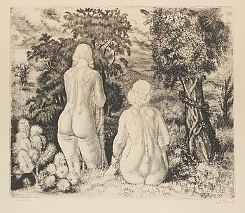 "EDUARD WIIRALT, ""NUDES IN LANDSCAPE"" (AKTID MAASTIKU TAUSTAL). Soft ground etching, 1934. Signed in ink G Wiiralt. 35,5 x..."