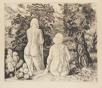 """47. Eduard Wiiralt, """"NUDES IN LANDSCAPE"""" (AKTID MAASTIKU TAUSTAL)."""