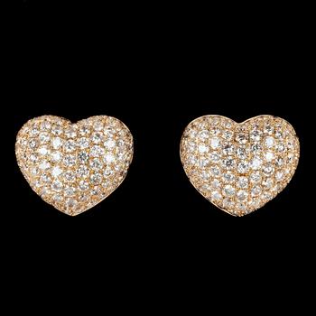 14. EARRINGS, 162 brilliant cut diamonds, tot. 1.70 cts.