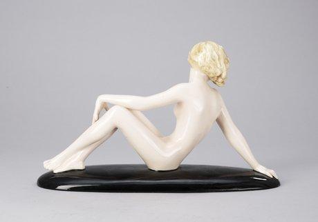 A goldscheider creamware figure by josef lorenzl, vienna circa 1936.