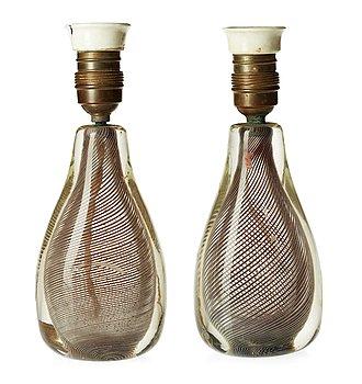 192. A pair of Venini table lamp, Murano, 1935-43.