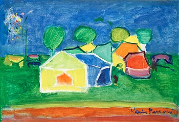 KARIN PARROW, Landscape with houses. Signed Karin Parrow. Canvas 38 x 55 cm.